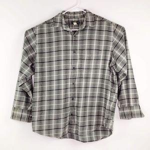 Banana Republic Gray Plaid Flannel Button Shirt L